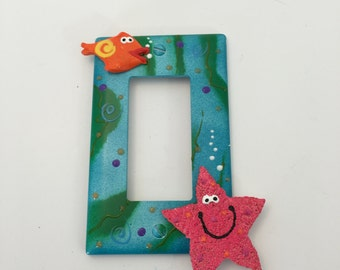 Plate Cover,Light Switch Cover,  Whimsical Underwater aquatic light switch wall plate cover , whimsy fish room decor