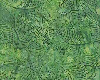 Green batik with leaf/feather design.