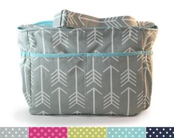 Large grey arrow and teal polka dot arrows diaper bag / knitting bag / arrows tote bag
