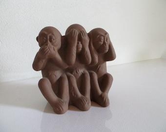 See No Evil Speak No Evil Hear No Evil 3 Monkeys, Max Heinze Karslruher Majolica
