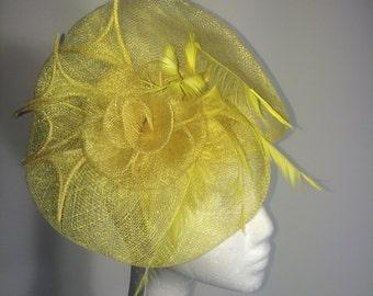 Yellow Fascinator with Flowers/ Kentucky Derby Fascinator/ Derby Hat