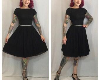 Vintage 1950's Black Dress with Rhinestone Waist