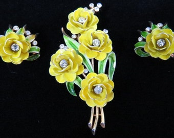 Crown Trifari Alfred Philippe Earrings and Brooch Rhinestone Enamel Flowers