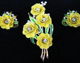 Crown Trifari Alfred Philippe Earrings and Brooch Rhinestone Enamel Flowers