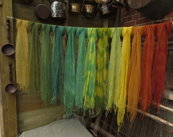 Naturally dyed 100% mulberry silk scarves - super soft ethically traded - earth colours