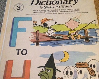 Vintage 1973 Children's Charlie Brown Dictionary F to H HC Book