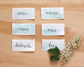 Watercolour Calligraphy Place Cards