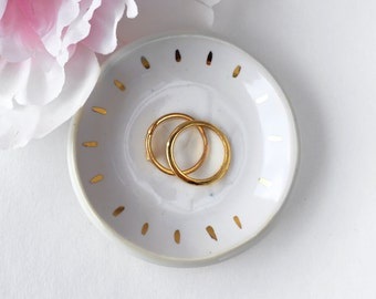 Starlight Jewelry Dish in White and Gold - Modern Ceramic, Mother's Day Gift, Wedding Gift, Hostess Gift, coaster