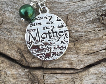Mother and all the things they are...Engraved necklace