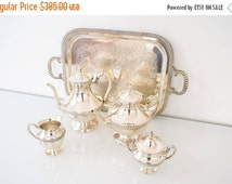SALE silver tea and coffee set, silver tea set, silver coffee set, coffee pot, 5 piece silverplate on copper coffee & tea service, vintage