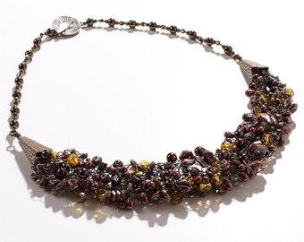 Bronze/Brown/Amber Wire Crochet Statement Necklace