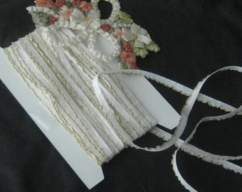 Vintage White Rayon Ribbon with Metallic Gold Lettace Edge - Crafts, Ribbon Flowers, Sewing, Dolls, Teddy Bears - 1 yard