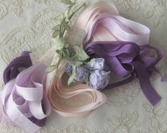 Rayon Ribbon / Seam Binding - 15 yds - Blush, Lavender, Purple - Crafts, Sewing, Ribbonwork Flowers, Embroidery