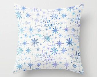 Let It Snow Throw Pillows - Snowflake Couch Pillows - Christmas Sofa Pillows - Snowflake Design