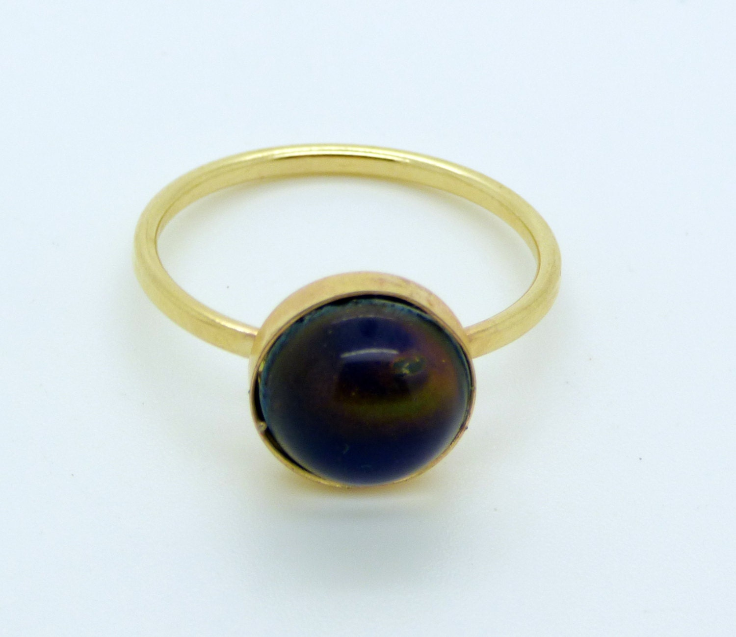 oval mood ring 14k gold filled setting size 8 5