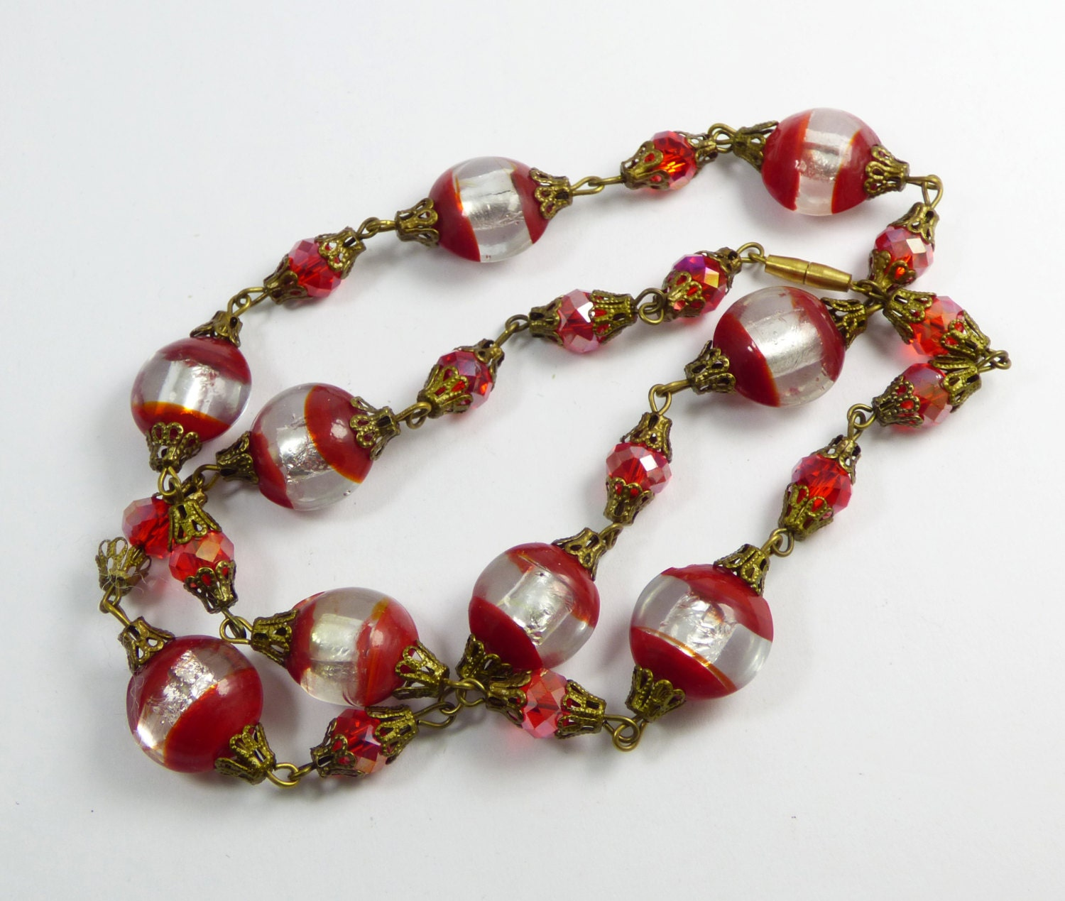 Vintage red and silver foil lampwork glass crystal bead