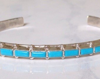 Native American Navajo Hand Stamped Sterling Turquoise  Row Bracelet Signed D V B