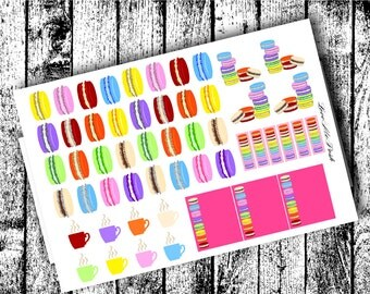 French Macaron Planner Stickers for A2