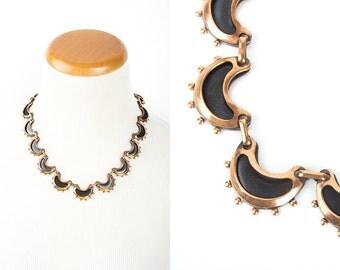 Vintage 50s RENOIR Copper Enamel Necklace | 1950s CRESCENT MOON Modernist Mid Century Link Necklace