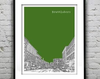 Brattleboro Vermont Skyline Poster Art Print VT
