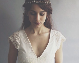 SUSANNAH - Bridal Gown - Guipiere lace bridal gown - with cap sleeves and puddle train - Bespoke