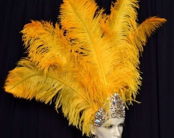 Ostrich Feather Headdress Showgirl Samba Carnival .