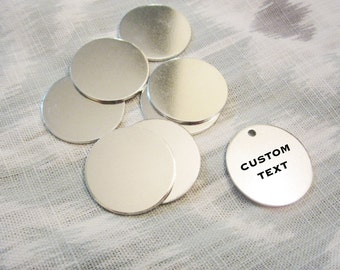 "Custom Silver Disc - 25mm (1"") - Hand Stamped Circle Jewelry Tag - BULK PRICING AVAILABLE"