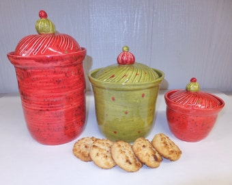 Red and Olive Ceramic Kitchen Canister Set, Handmade Stoneware Pottery