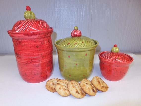 red and olive ceramic kitchen canister set handmade stoneware