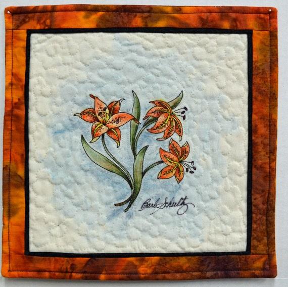 Tiger Lilies Small Wall Hanging Mug Rug Tea Pot Rug By