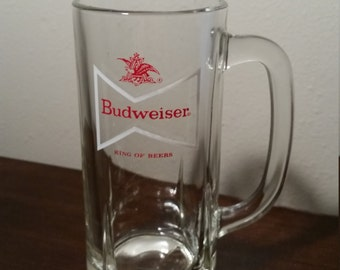 Vintage Budweiser Beer Clear Glass Mug
