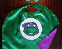 Ninja Turtle Cape, TMNT Cape, Purple TMNT, Donatello TMNT, Purple Ninja Turtle, Birthday Shirt, Birthday Boy, Birthday Gift, Costume, Mask