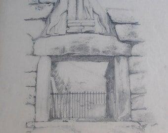 antique original drawing, the Lion Gate, Mycenae, Greece