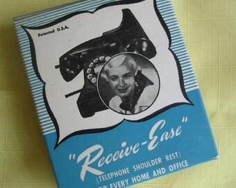 """Vintage """"Receive-Ease"""" 1950s telephone shoulder rest handset receiver shoulder rest Type F-1 with original box E.S. Scarlett Mfg. Co."""