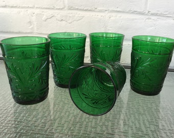 Anchor Hocking Glass Sandwich Pattern Nine Ounce Tumblers