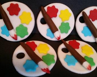 Paint Palette and Brush Fondant Cupcake Topper