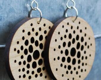 Wooden Earrings - Sterling Silver