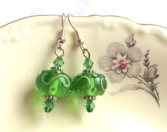 Earrings magic lamp green