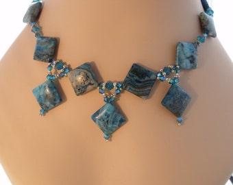 Teal & Capri Blue Opal Statement Necklace