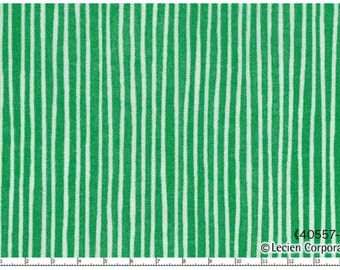 L's Modern Double Gauze Green Stripes - Lecien - white and green, striped fabric, cotton fabric, 40557 60