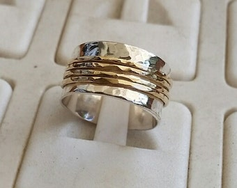 Silver and Gold Spinners Ring ,Wedding Spinner Band ,Sterling Silver 925 Ring , 14K Yellow Gold Spinners Band, Handmade Ring, Bridel Ring
