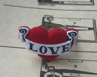 Love Heart Tattoo Ring