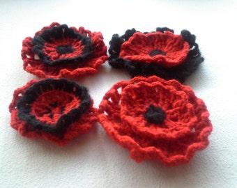 Set of 4 flowers, Crochet poppy brooch , Crochet hair clip, Crochet Wool Jewelry, Red Black Flower, Felt Flower Pin, Gift for her, Handmade