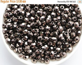 SALE -10% 3mm Metallic Bronze (50psc) Small Czech Fire Polished Glass Beads Polish Faceted Round