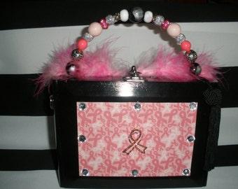 Pink Ribbon Breast Cancer Awareness Cigar Box Purse, Cigar Boxs Hand Bag
