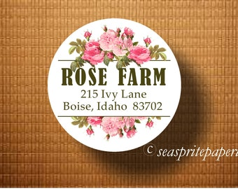 Address label/antique rose sticker/farm sign