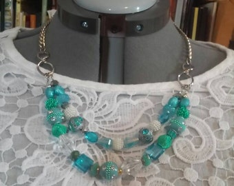 MultiStrand Beaded Necklace in blue statement necklace