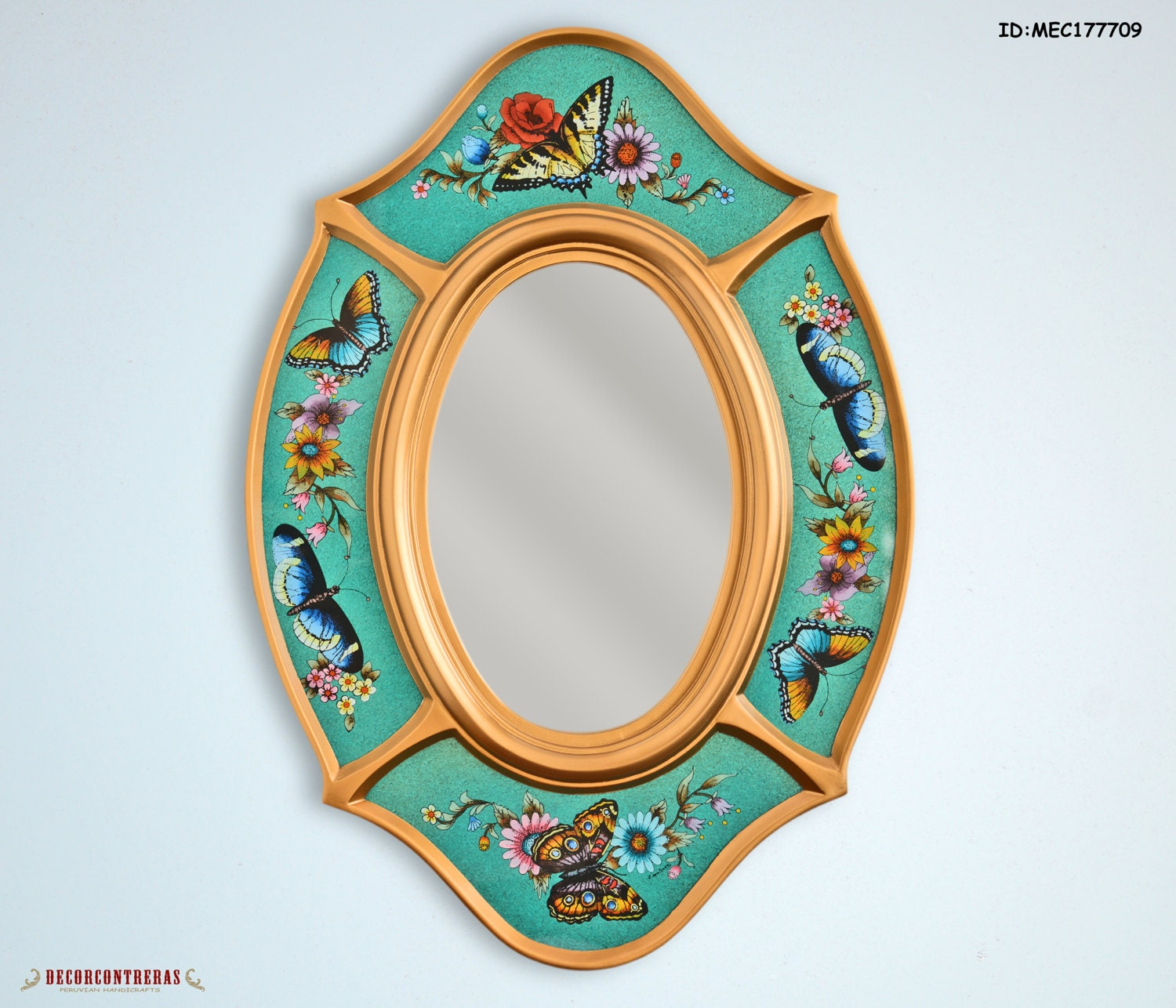 New decorative oval wall mirror butterflies wall for Fancy oval mirror
