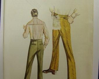 1970s Kwik Sew 323 MEN'S SLACKS size (36-38-40) waist UNCUT & sealedd