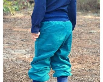 corduroy pants organic cotton petrol,toddler baggy pants,toddler trousers,diaper pants,fine corduroy harem pants,baby pants corduroy,blue